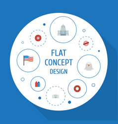 Flat icons america roulette metropolis and other vector