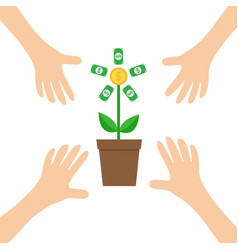 four hands arm reaching to growing money tree vector image