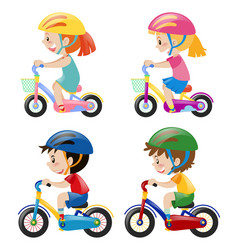 Four kids riding bicycle on white background vector