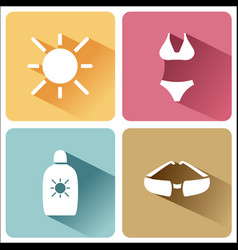 Four summer and tourism icons set with shade vector