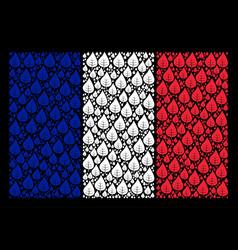 France flag mosaic of plant leaf items vector
