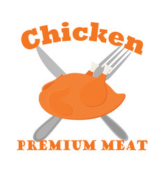 fried chicken label logo hen fork knife flat vector image