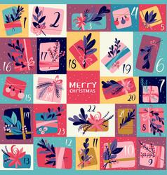 Gift box christmas advent calendar vector