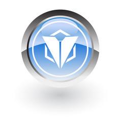 Glossy icon triangle polygon vector