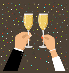 hands holding champagne and wine glasses vector image