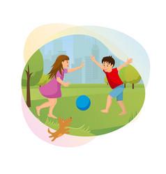 happy children playing in city park cartoon vector image
