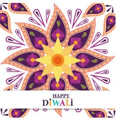 happy diwali festival flowers floral mandala vector image