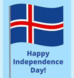 happy independence day iceland vector image