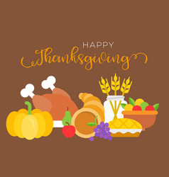 happy thanksgiving typographic and food such as vector image