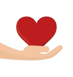 heart cartoon and holding hand icon vector image