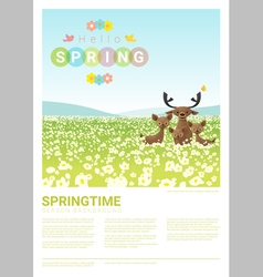 Hello spring landscape background with deer family vector