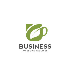 herbal green tea cup logo vector image