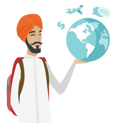 hindu traveler man holding map and globe vector image vector image