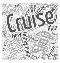 Honeymooning on a Cruise Ship Word Cloud Concept vector