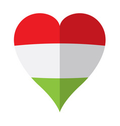 isolated flag of hungary on a heart shape vector image
