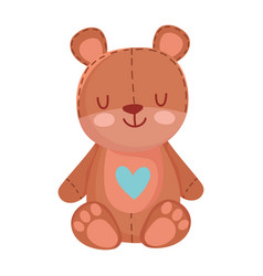 kids toys teddy bear with heart cartoon isolated vector image
