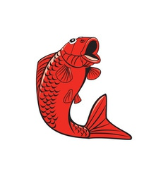 Koi Nishikigoi Carp Fish Jumping Cartoon vector image