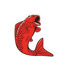 Koi nishikigoi carp fish jumping cartoon vector