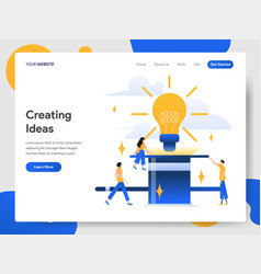 Landing page template creating ideas concept vector