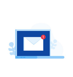 laptop with envelope symbol of email receiving vector image