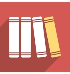 Library Books Flat Longshadow Square Icon vector