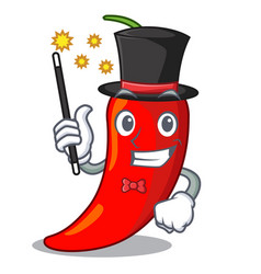 Magician red chili pepper isolated on mascot vector