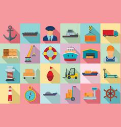 marine port icons set flat style vector image