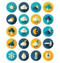 Meteorology Weather flat icons set vector image