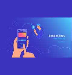 Mobile banking and sending money from credit card vector