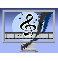 Monitor with films and notes vector
