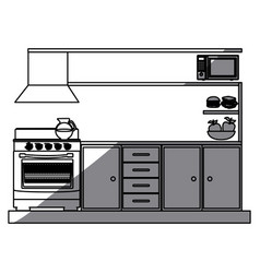 Monochrome silhouette of lower kitchen cabinets vector