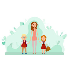 Mother and two happy kids with backpacks isolated vector