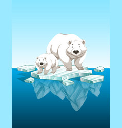 Mother polar bear and cub on ice vector