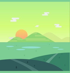 Nature landscape in morning with sun and mountain vector