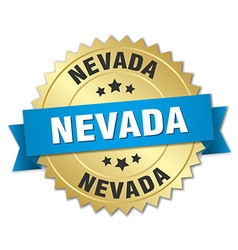 Nevada round golden badge with blue ribbon vector