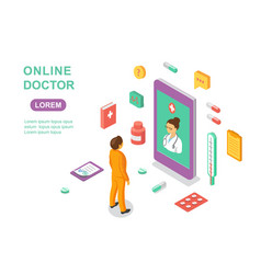 Online doctor concept medical online consultation vector