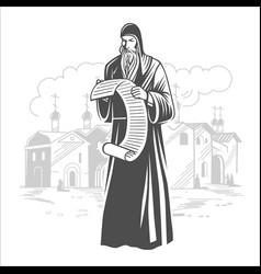 Orthodox monk priest vector