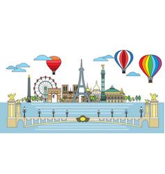 Paris colorful line art 4 vector