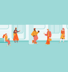 People waiting commuter train on subway platform vector
