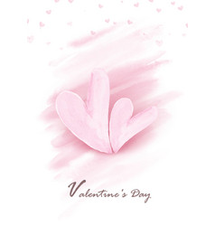 pink double hearts shape on watercolor splash vector image