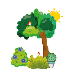 pixelated birds in the trees and farm plants vector image