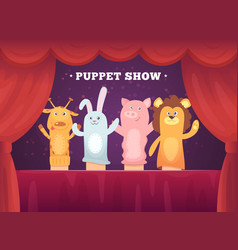 Puppet show red curtains theatre performance vector