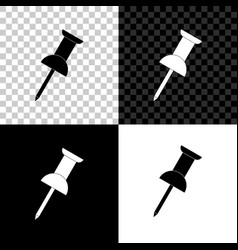Push pin icon isolated on black white and vector