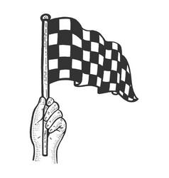 Racing flag in hand sketch vector