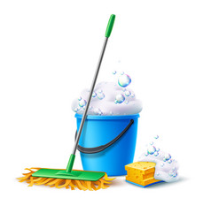 Realistic mop sponge bucket with soapy foam vector