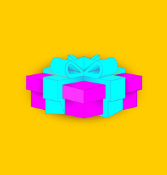 Realistic volumetric purple gift box with ribbon vector