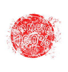 red grunge circle rubber stamp zombie 100 used vector image vector image