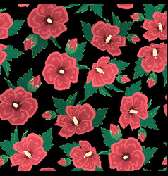 red hibiscus flowers green leaves on black night vector image