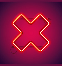Red neon close cross shape vector