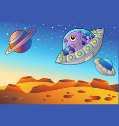 Red planet with flying saucers vector